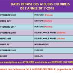 dates reprise des cours ateliers culturels-1
